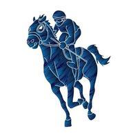 Silhouette Jockey Sport Rennpferd vektor