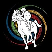 jockey reiten pferdesport aktion vektor