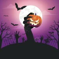 Halloween-Hintergrundschablone mit gruseligem Kürbisgesicht vektor