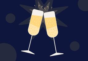 Champagne Toast flache vektor