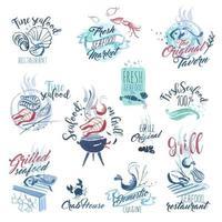 handgezeichnete aquarellzeichen mit meeresfrüchten vektor