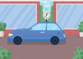 Auto in verbotener Parkzone flache Farbvektorillustration vektor