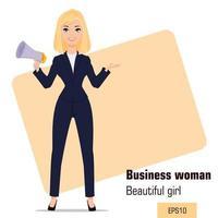 junge Cartoon-Geschäftsfrau stehend vektor