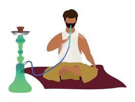 arabischer Mann sitzt und raucht Wasserpfeife flacher Farbvektor gesichtsloser Charakter vektor
