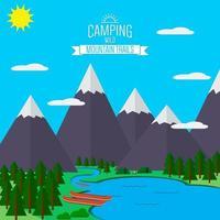 Berge mit Wald- und Flussweglandschaft, flache Vektorgrafik, für Camping und Wandern, Extremsport, Rafting-Outdoor-Abenteuer, mit Erholungsplatz, Zelten und Feuer. vektor