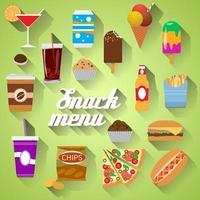 Snack-Menü flaches Design moderne Vektorgrafik von Speisen, Getränken, Kaffee, Hamburger, Pizza, Bier, Cocktail, Fastfood, Cola, Eis, Kartoffelchips, Süßigkeiten-Symbole mit langem Schatten vektor