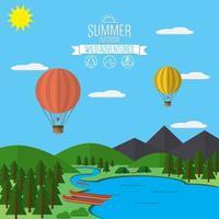 Berge mit Wald- und Flussweglandschaft, flache Vektorgrafik, für Camping und Wandern, Extremsport, Rafting und Heißluftballons Outdoor-Abenteuer, mit Erholungsplatz, Zelten und Feuer vektor