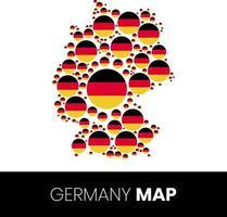 Deutschlandkarte gefüllt mit fahnenförmigen Kreisen vektor