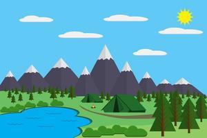 Berge mit Wald- und Seelandschaft, flache Vektorgrafik, für Camping und Wandern, Extremsport, Outdoor-Abenteuer, mit Erholungsplatz, Zelten und Feuer vektor