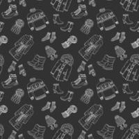 Wintersaison Doodle Kleidung nahtlose Muster. handgezeichnete Skizzenelemente warmer Raindeer-Pullover, Mantel, Stiefel, Socken, Handschuhe und Hüte. Vektor-Hintergrund-Illustration. vektor