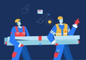 Fabriksarbetare Bärande Maskiner Material Vector Flat Illustration