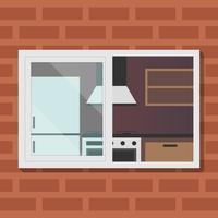 Im Freienansicht über Küchen-Raum-Vektor-Illustration