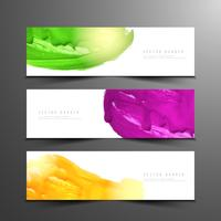 Sammanfattning färgglada vattenfärg moderna banderoller uppsättning vektor
