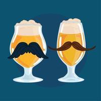Paar Trinkglas mit Schaum und Hipster-Schnurrbärten vektor
