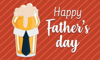 Vatertagsplakat mit einem trinkenden Bierglas mit Krawatte und Schaum vektor