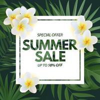 Sommerverkaufsplakat. natürlicher Hintergrund mit tropischen Palmblättern und exotischer Plumeriablume vektor