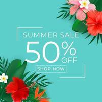 Sommerverkaufsplakat. natürlicher Hintergrund mit tropischen Palmen und Monsterablättern, exotische Blume. vektor