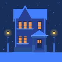 Haus in einer ruhigen verschneiten Winter-Landschaftsvektor-Illustration vektor