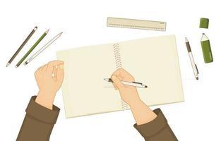 Schulheft oder Notizbuch für zusammenfassende Notizen Stift Bleistiftmarker Lineal sind auf dem Tisch Mensch beginnt etwas zu schreiben Hände werden gezeigt weißer Stift ist in der rechten Hand Elemente sind isoliert auf weißem Hintergrund vektor