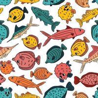 Helles nahtloses Muster von Doodle isoliert rosa gelb blau Umriss Cartoon Vektor Fisch Tang Flunder Thunfisch Ozean Burrfish Sea Marlin Illustration auf weißem Hintergrund für Kinderbuch oder Drucke