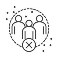 Covid 19 Coronavirus soziale Distanzierungsprävention Abstand halten in der öffentlichen Gesellschaft Menschenausbruch Verbreitung des Vektorliniensymbols vektor