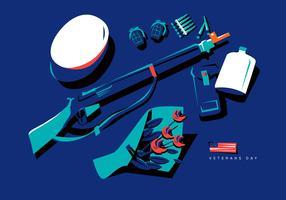 Patriotische Weinlese-Soldat-Ausrüstung im Veteranen-Tagesvektor-flachen Hintergrund-Illustration