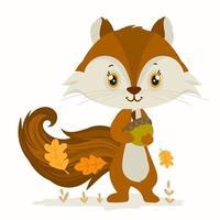 süße Eichhörnchen jonglieren mit Eicheln vektor