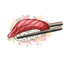 Gunkan Sushi mit Thunfisch aus einem Spritzer Aquarell handgezeichnete Skizze Vektorgrafik von Farben of vektor