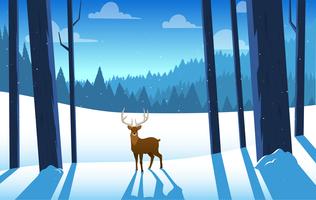 Vektor Vacker vinter landskaps illustration