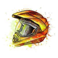 Motorradhelm aus einem Spritzer Aquarell handgezeichnete Skizze Vektor-Illustration von Farben vektor