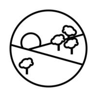 Waldlandschaft Tag Szene Linienstil-Symbol vektor