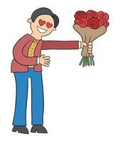 Cartoon Mann in der Liebe gibt einen Strauß Rosen Vektor-Illustration vektor