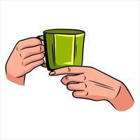 Tasse mit Tee in der Hand eine duftende Tasse Tee zum Frühstück im Restaurant-Cartoon-Stil vektor