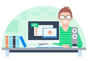 Vektor Designer på Desk Illustration