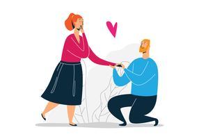 Mann schlagen eine Frau vor, um zu heiraten vektor