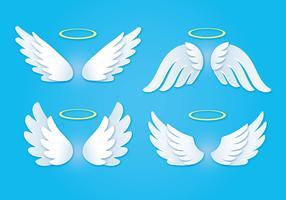 Weißer Engel Wings mit goldenem Halo