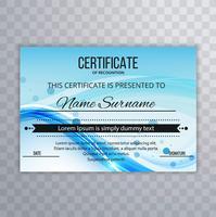 Zusammenfassung Welle Zertifikat Entwurfsvorlage vektor