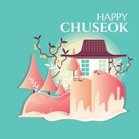Lyckligt Chuseok-kort med papperskraft eller skärande pappersstil vektor