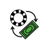 Casino-Chip mit Pfeilen und Bill-Dollar vektor