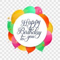Vacker grattis på födelsedagen kort färgglada balonger bakgrund