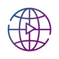 Sphärenbrowser mit Wiedergabeschaltfläche für Videoinhalte mit Farbverlaufssymbol vektor