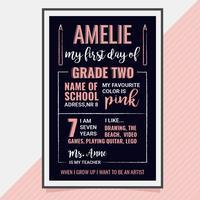 Vektor erster Tag der Schule Poster