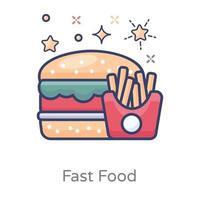Fastfood mit Kartoffelpommes vektor
