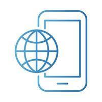 Smartphone mit Kugelbrowser-Zahlungen im Online-Gradientenstil vektor