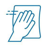 Symbol für den Linienstil der Hand sauberer Oberflächen vektor