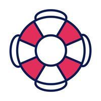 Float Rettungsschwimmer Linie und Füllsymbol vektor