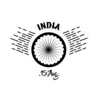 Indien Unabhängigkeitstag Feier mit Ashoka Chakra Silhouette Stil vektor