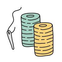 Nadeln und Fäden Freiform-Stil-Symbol vektor