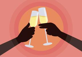 champagne toast illustration