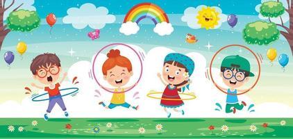 glückliches Kind macht Gymnastikübungen vektor